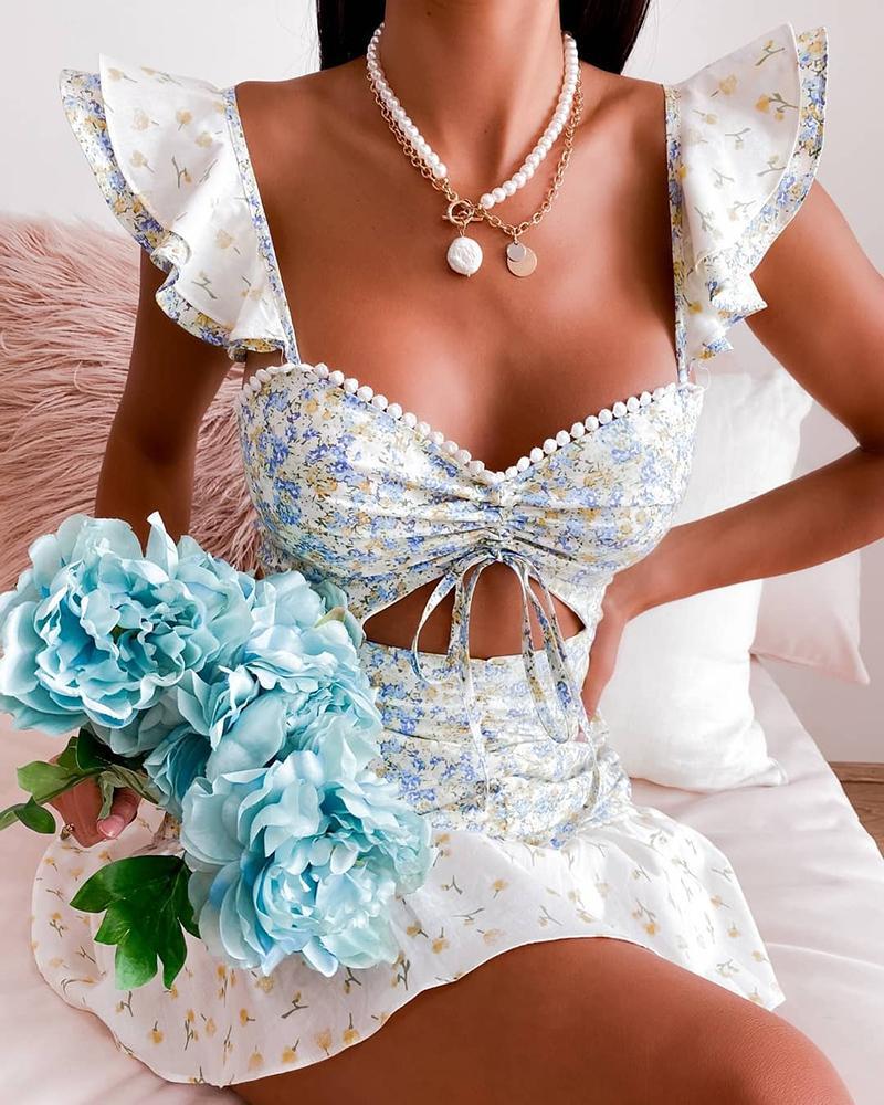 Ditsy Floral Print Short Sleeve Flared Dress