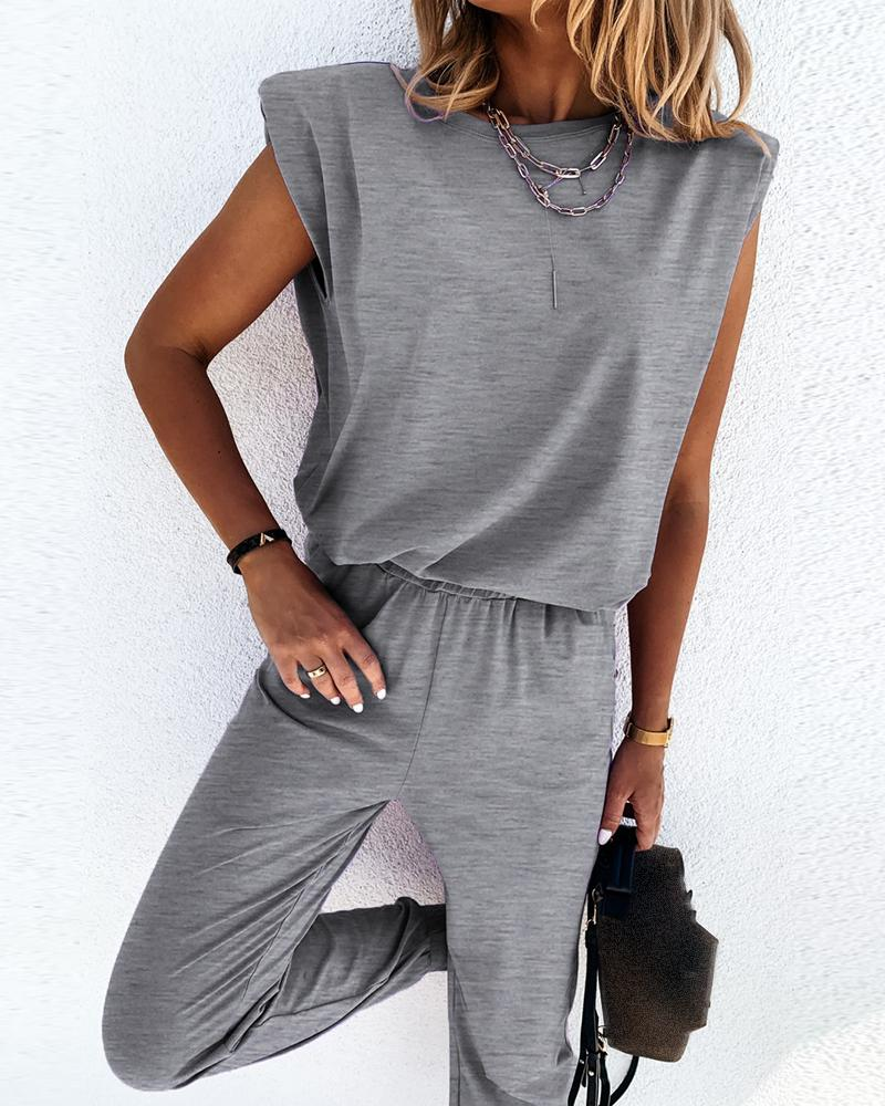 Sleeveless Top & Pocket Design Pants Set thumbnail