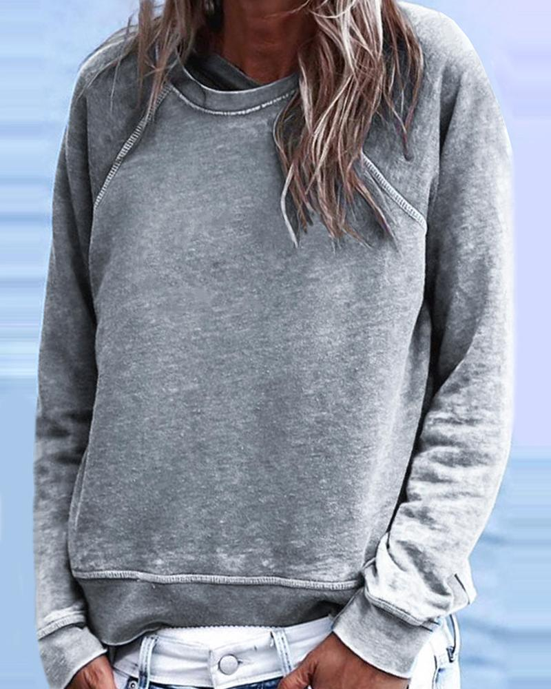 Solid Long Sleeve Casual Sweatshirt thumbnail