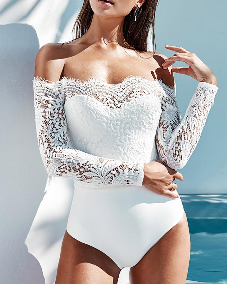 3a6fdb97703e Off Shoulder Eyelash Lace Crochet Slinky Bodysuit