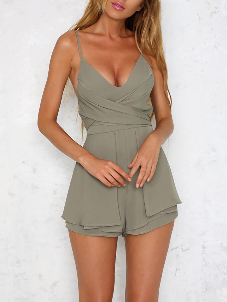 boutiquefeel / Deep V Ruched Belted Layered Slip Playsuit