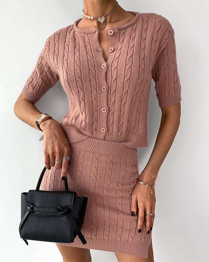 Buttoned Knit Ribbed Crop Top & Slit Skirt Sets thumbnail