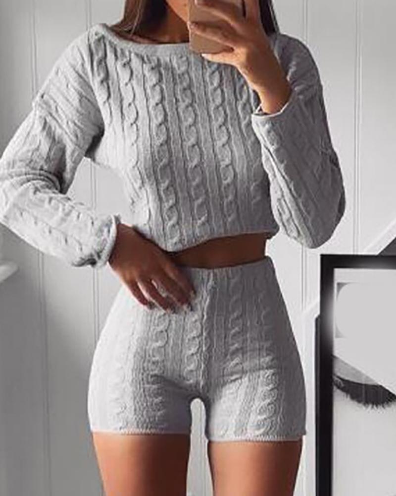 Knit Braided Crop Top & High Waist Shorts Set thumbnail