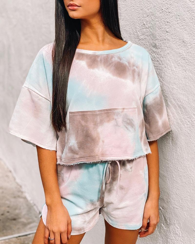 Tie Dye Print Fringe Hem Drawstring Pajamas Set thumbnail