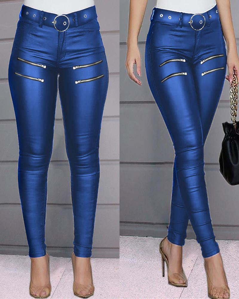 Zipper Design High Waist Skinny Pants