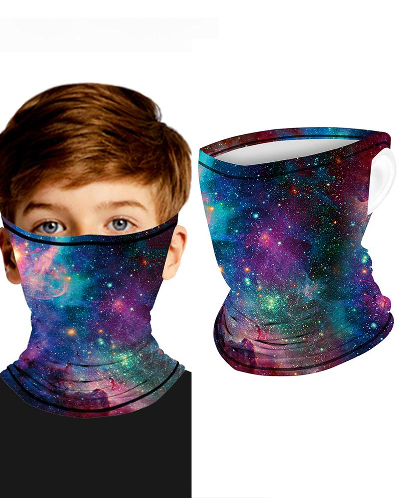 Galaxy Print Breathable Ear Loop FaceBandana Headwrap For Children thumbnail
