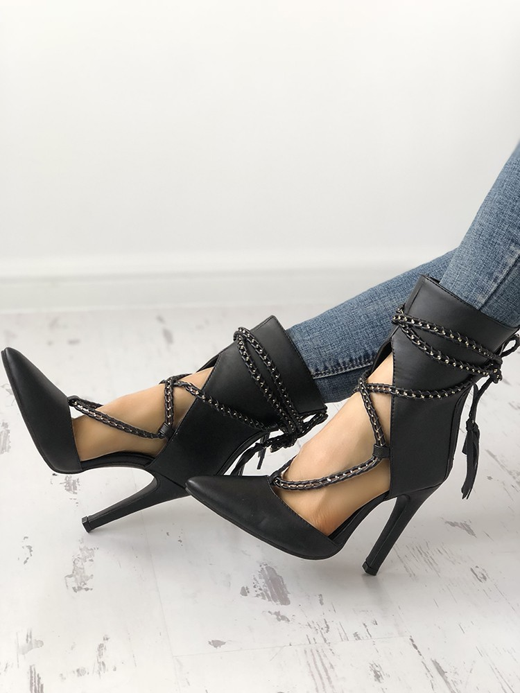 boutiquefeel / Point Toe Chains Lace-up Thin High Heels