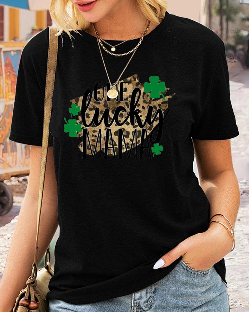 St.Patrick's Day Letter Cheetah Clover Print Short Sleeve T-Shirt