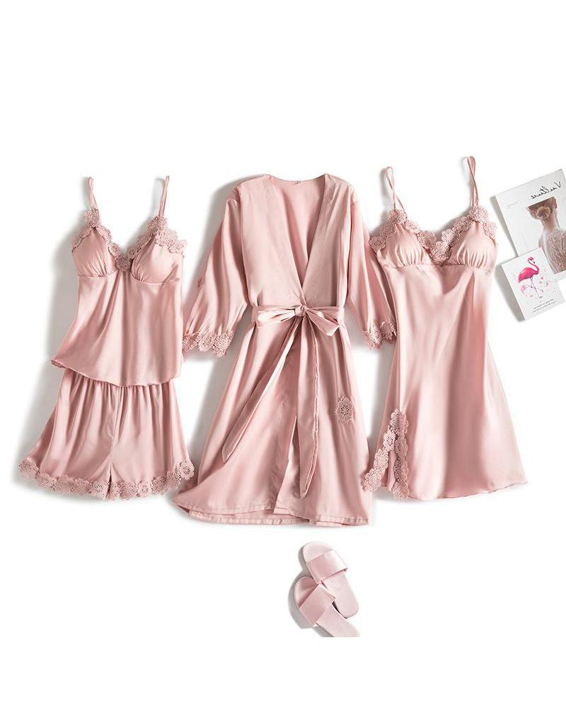 Satin Lace Detail 4Pcs Pajama Set thumbnail