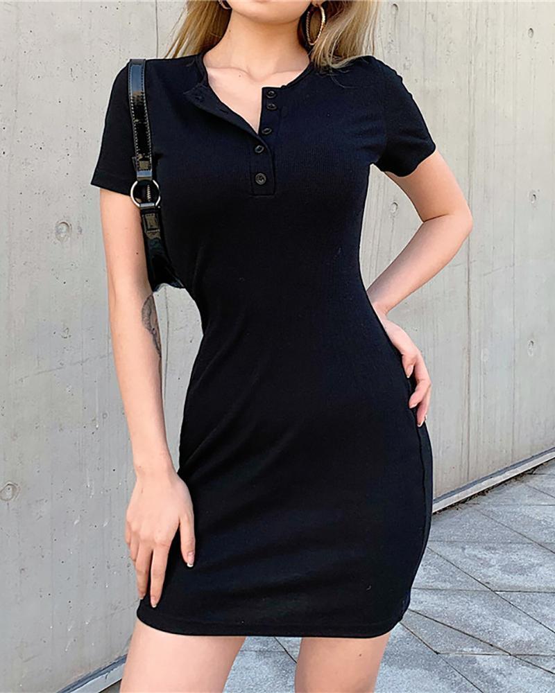Button Design Short Sleeve Bodycon Dress thumbnail