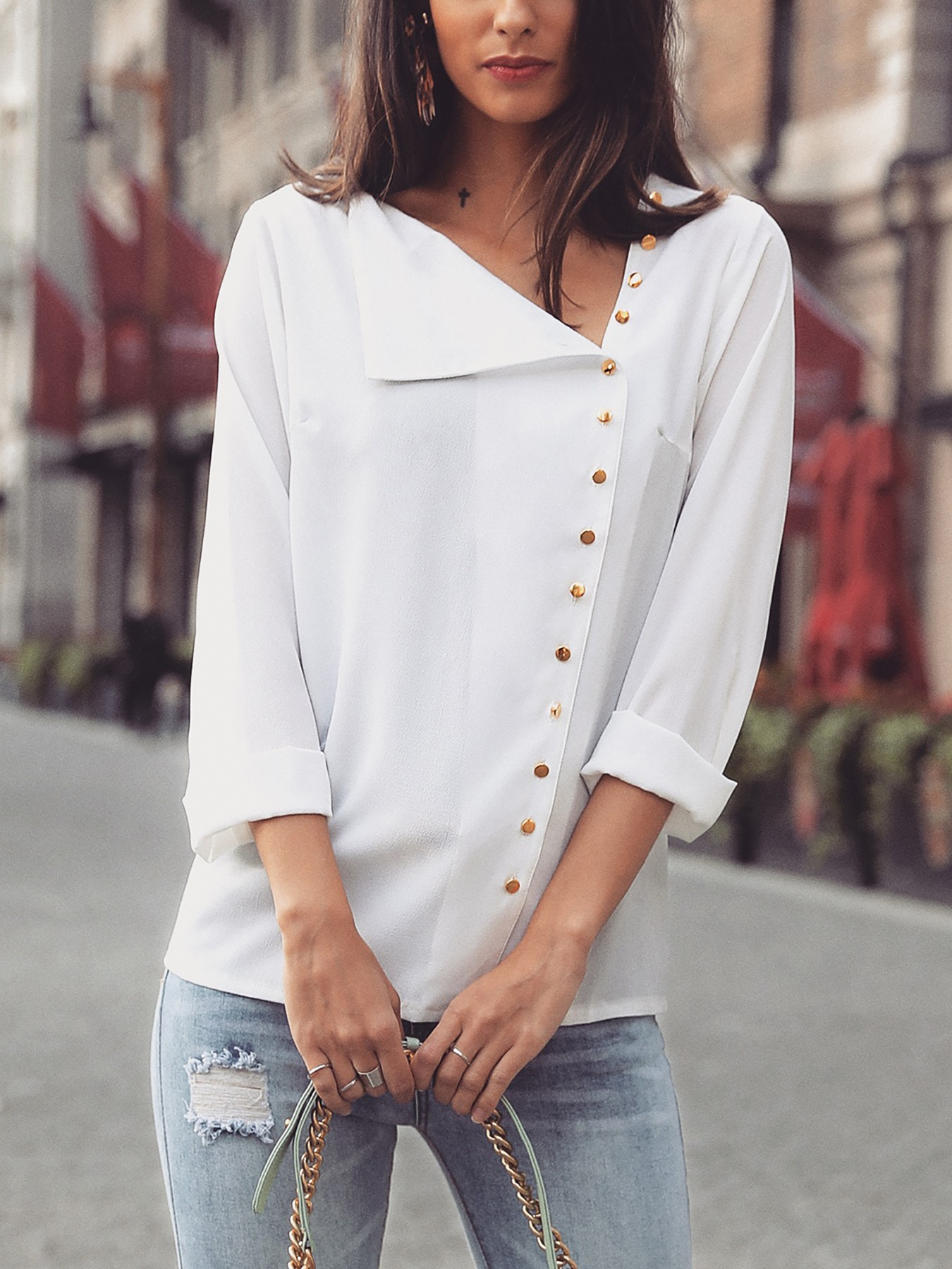 boutiquefeel / Long Sleeve Button Design Casual Blouse