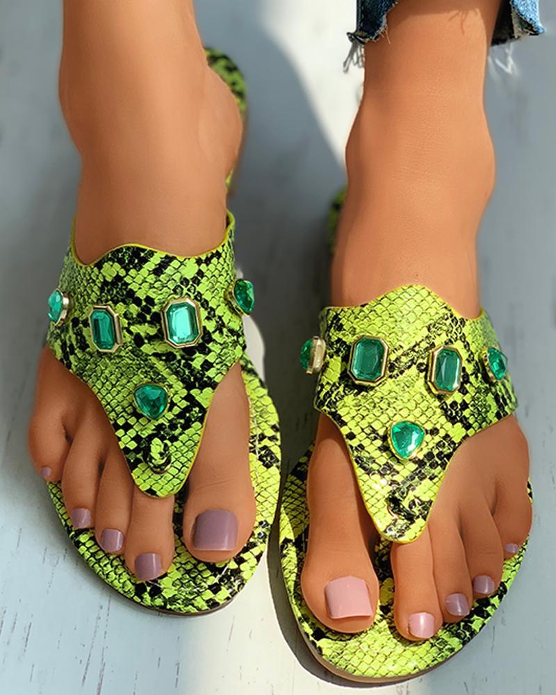 Toe Post Gem Decor Snakeskin Pattern Flat Sandals thumbnail