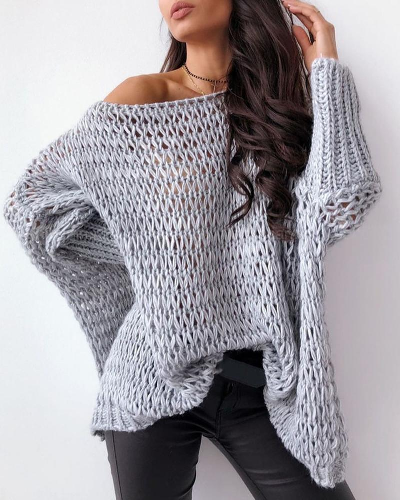 Batwing Sleeve Hollow Out Casual Sweater thumbnail