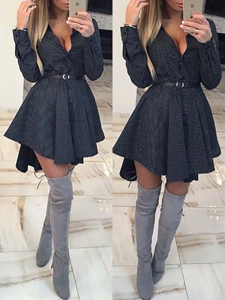 Fashion Vintage Dot Pleated Dovetail Dress Online