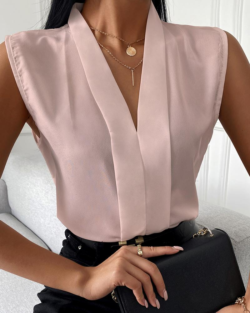 Sleeveless V-Neck Plain Casual Top, Pink
