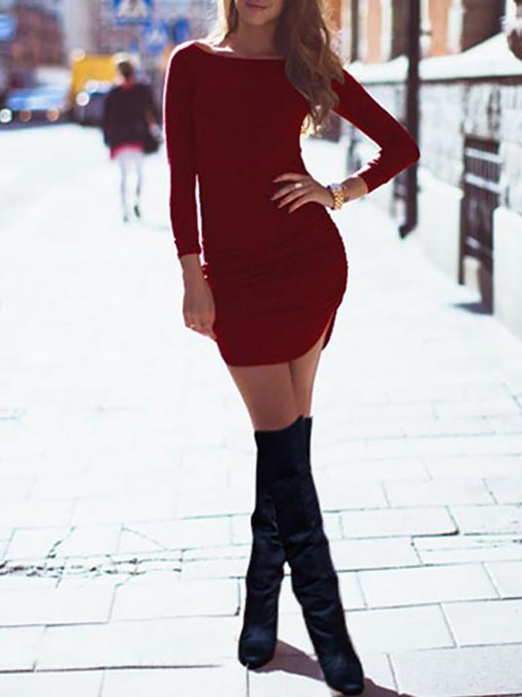 Women Fashion Long Sleeve Curved Hem Slim Bodycon Dress
