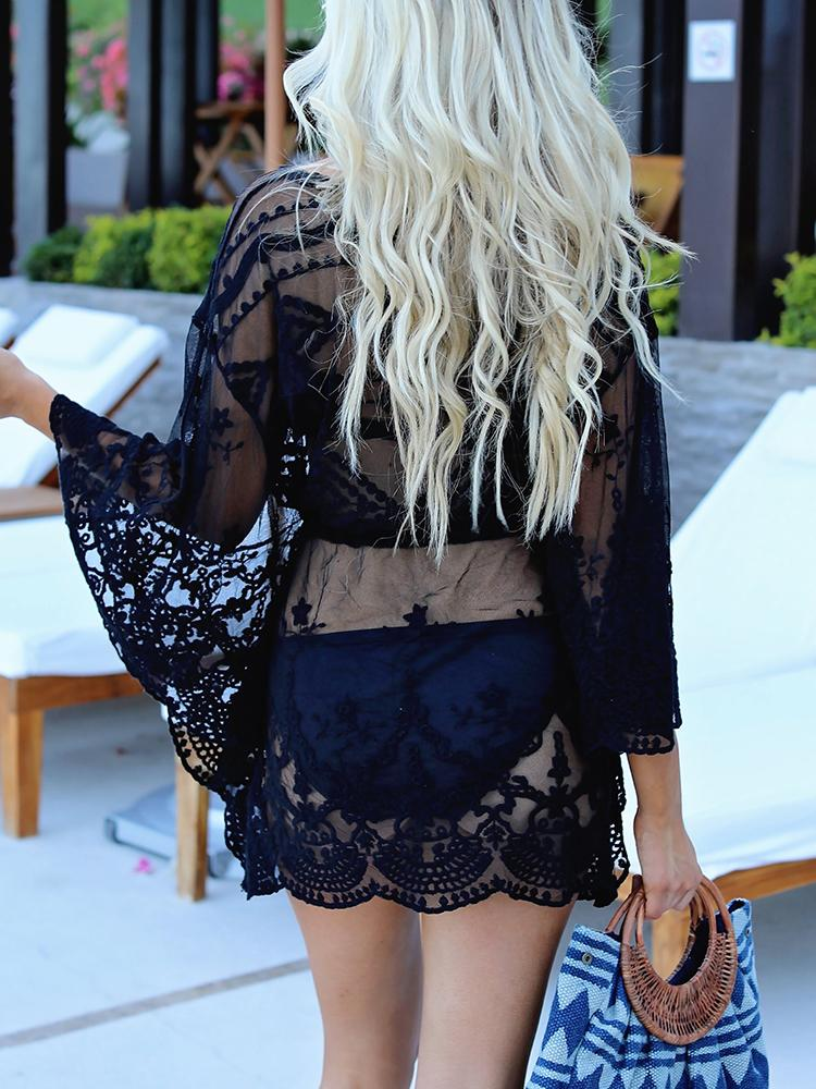 b6df114e76d Sexy Crochet Lace See Through Beachwear Cover Ups