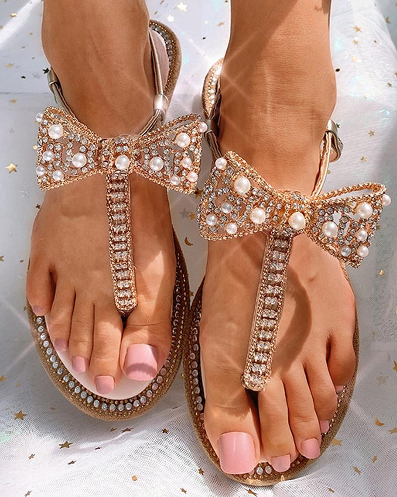 Butterfly Pattern Toe Ring Beaded Flat Sandals thumbnail