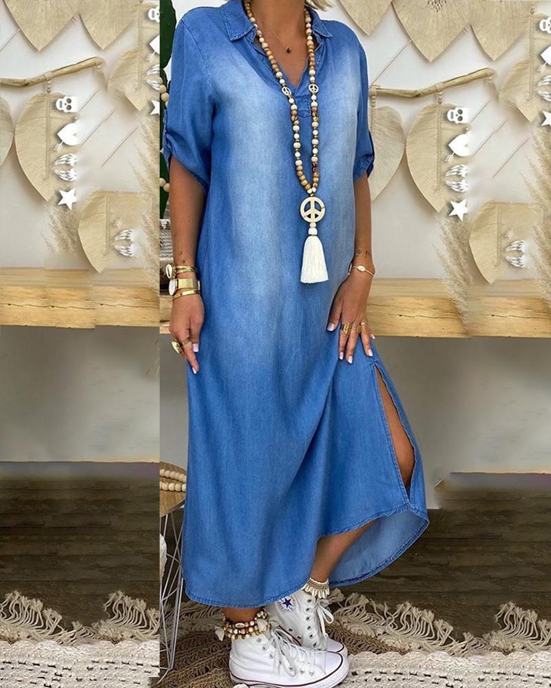 Half Sleeve Slit Hem Casual Maxi Dress thumbnail