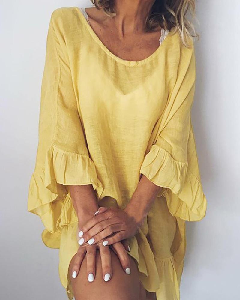 Cotton and Linen Stitching Ruffled Dress thumbnail