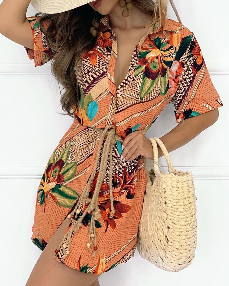 joyshoetique / Button Design Graphic Tropical Print Short Sleeve Shirt Dress