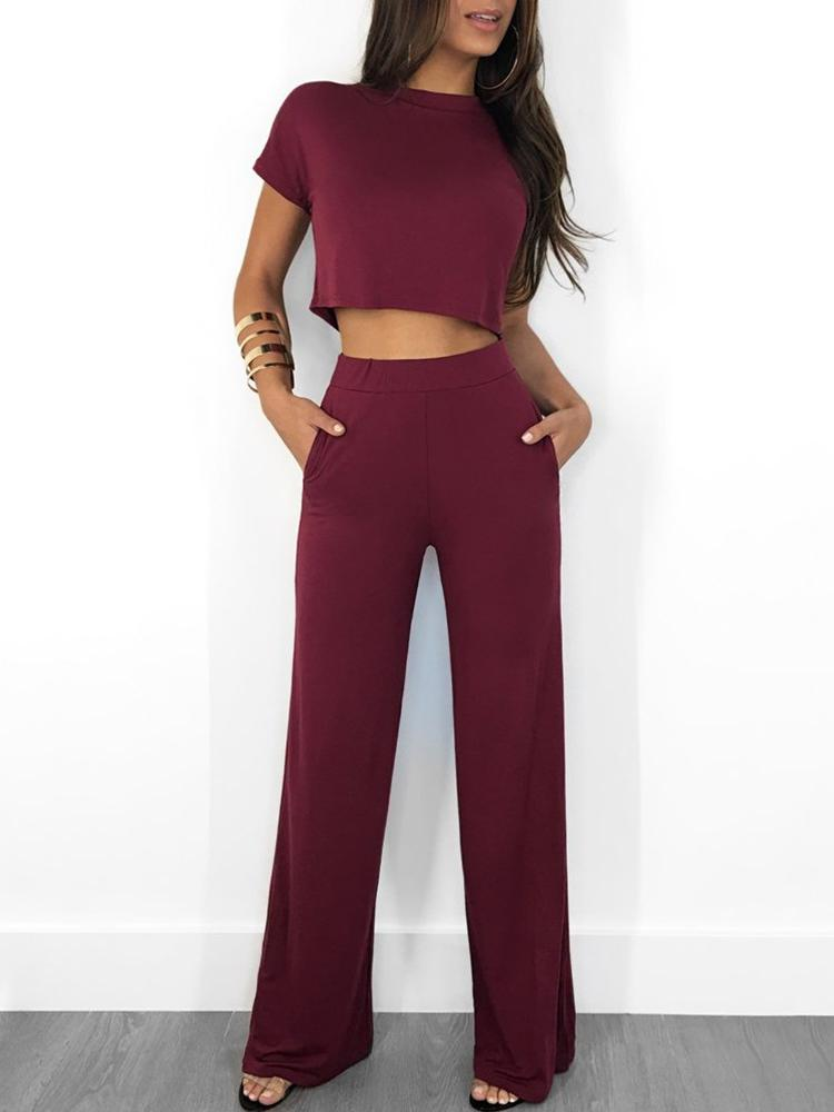 boutiquefeel / Solid Short Sleeve Crop Top & Pants Sets
