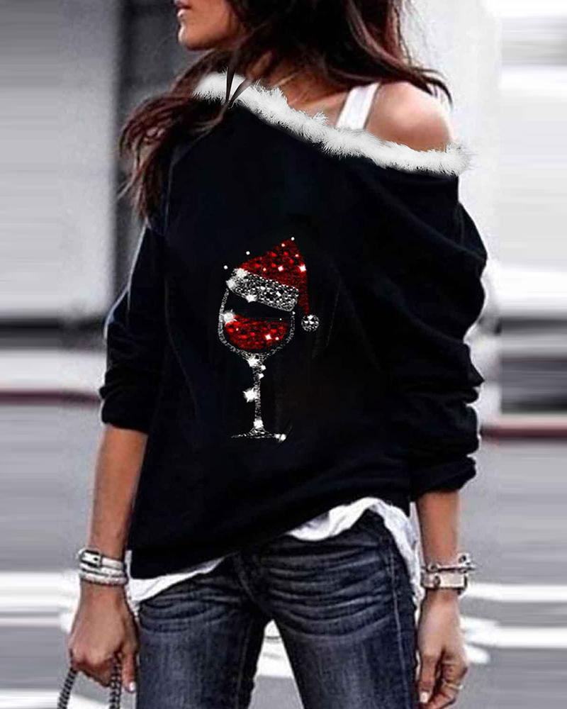 Colorblock Studded Long Sleeve Sweatshirt