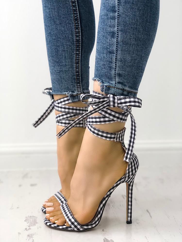 boutiquefeel / Single Strap Peep-toe Lace Up Summer Sandals