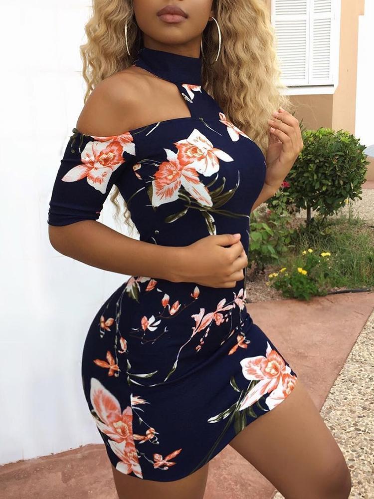 Floral Choker Open Shoulder Bodycon Dress