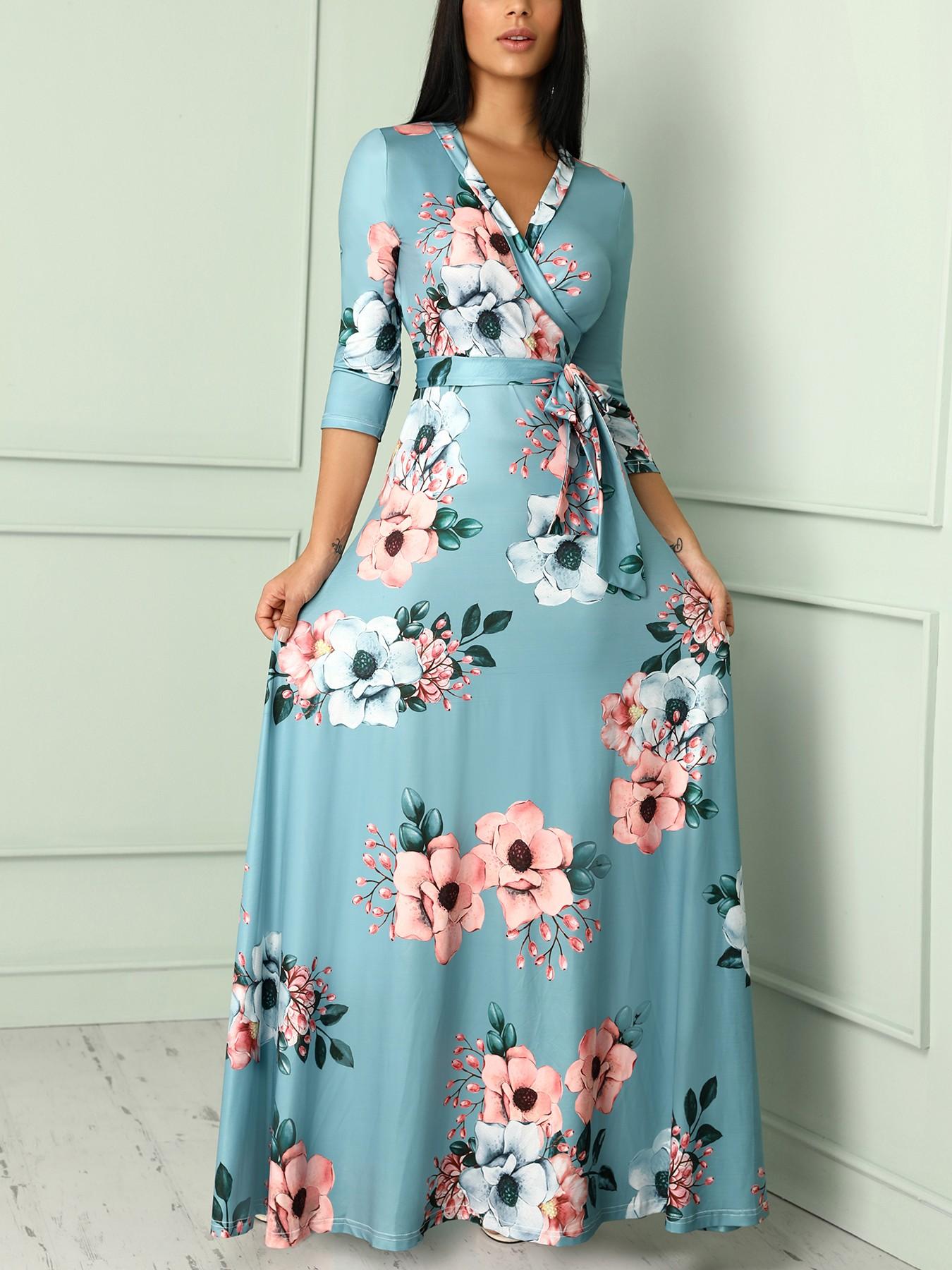 Floral Print Deep V Wrapped Belted Maxi Dress