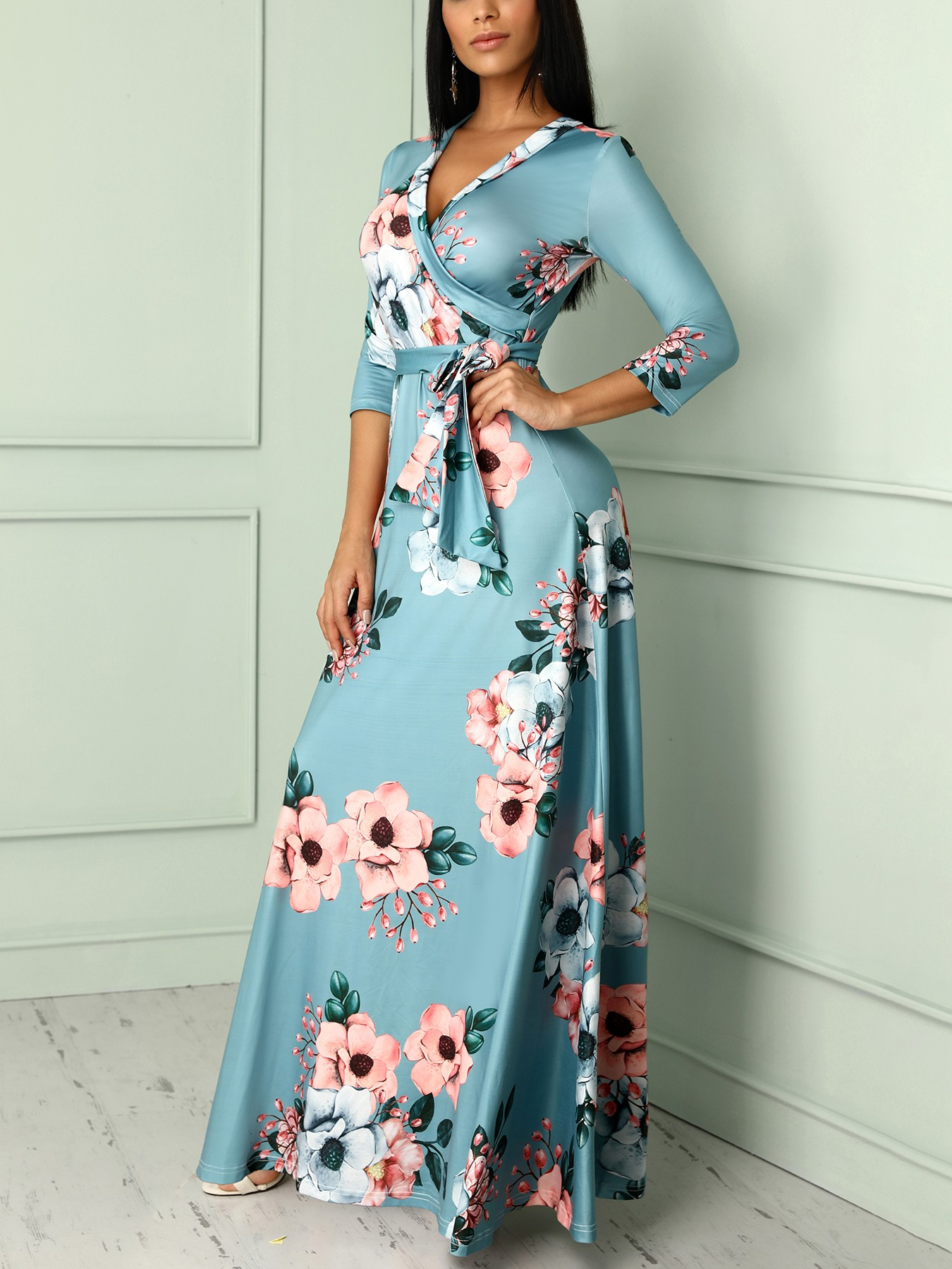 boutiquefeel / Floral Print Deep V Wrapped Belted Maxi Dress