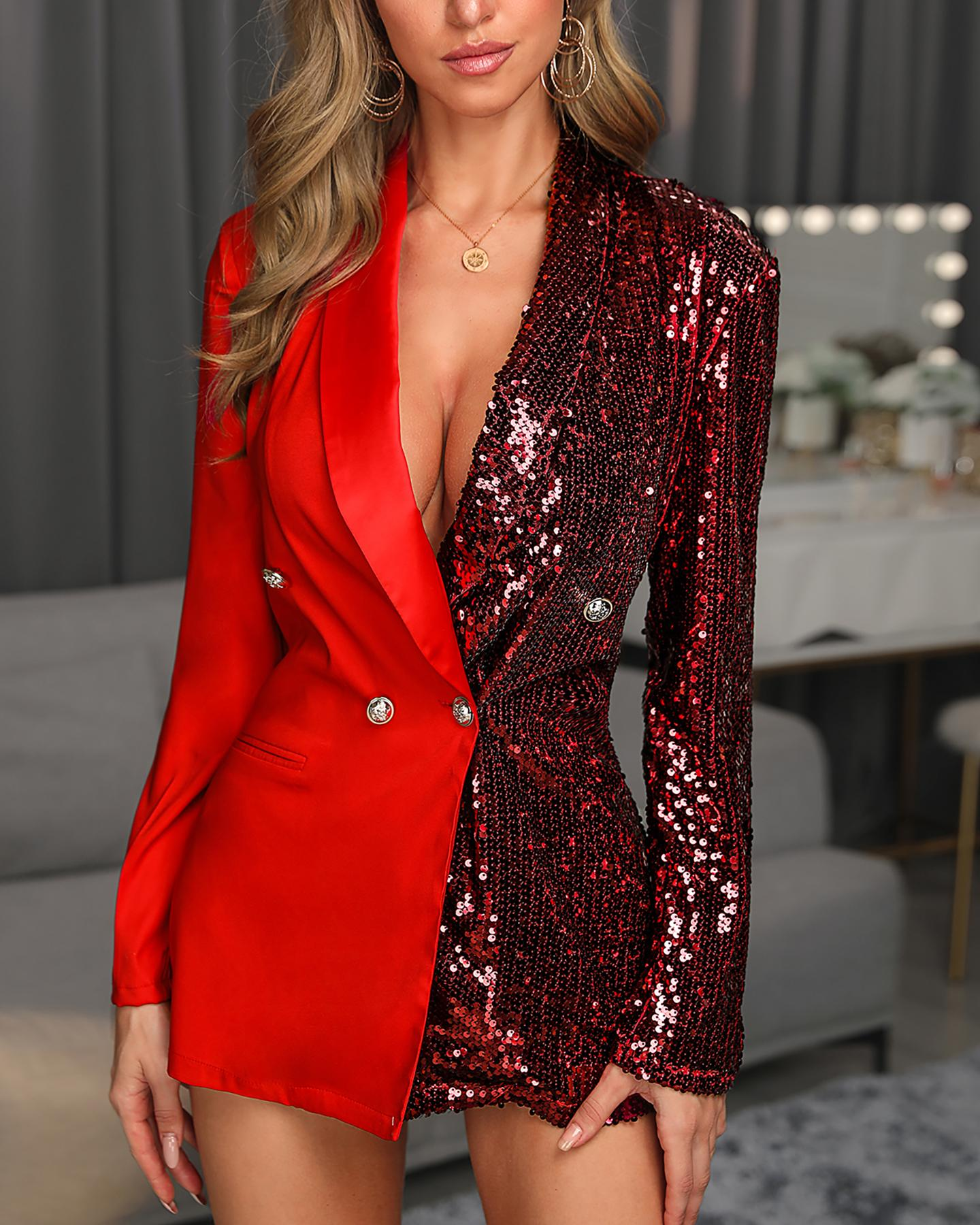 Colorblock Sequins Long Sleeve Blazer Dress thumbnail