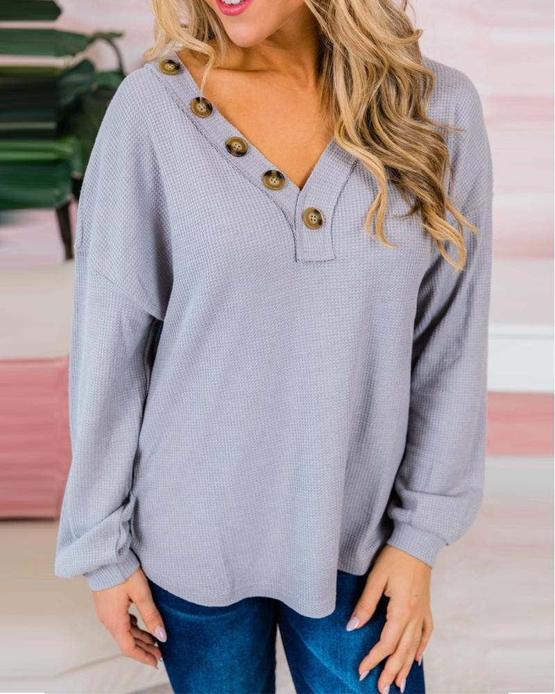 Solid Color Long Sleeve Button Blouse thumbnail