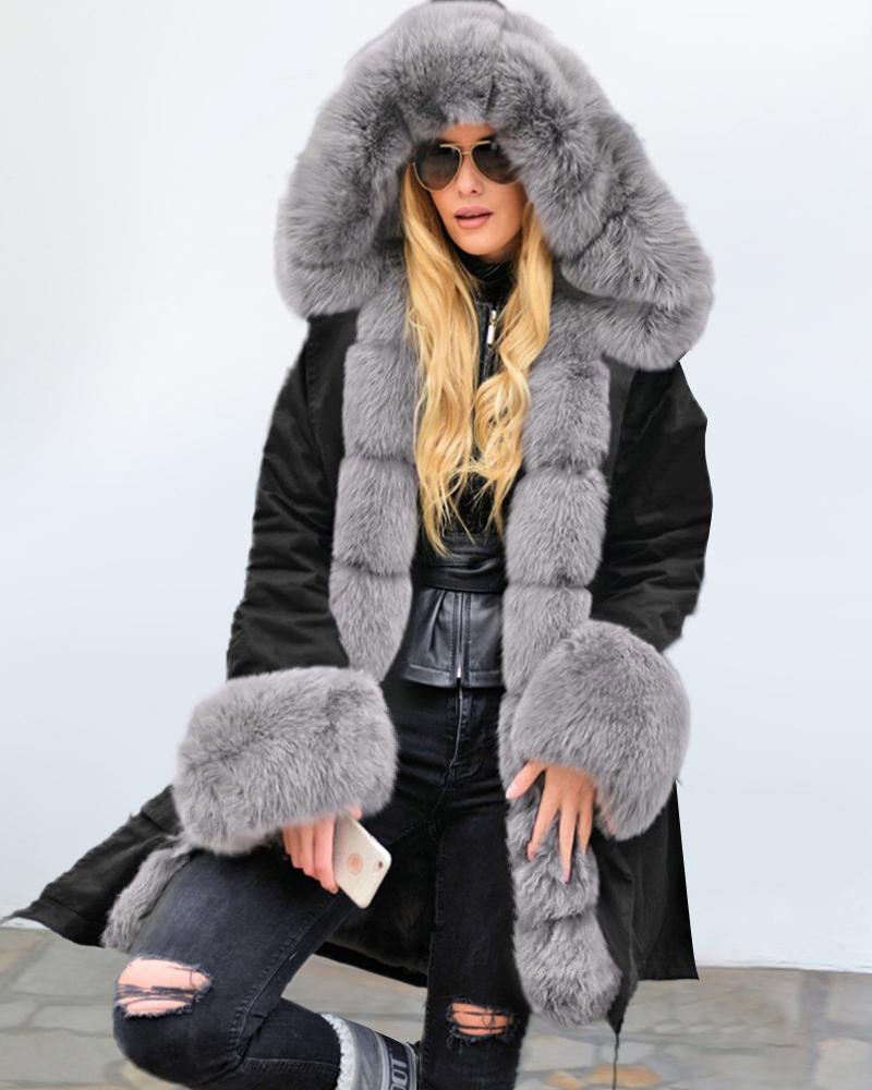 Plain Faux Fur Casual Coat