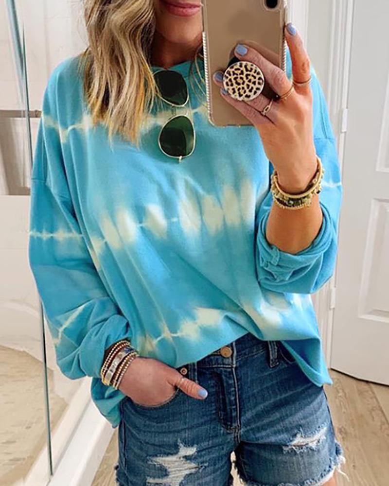Tie Dye Print Long Sleeve Casual Sweatshirt thumbnail