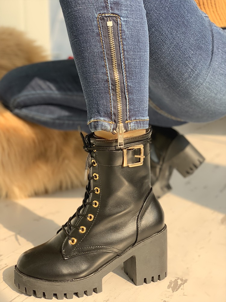 boutiquefeel / PU Platform Eyelet Lace-Up Chunky Heeled Boots
