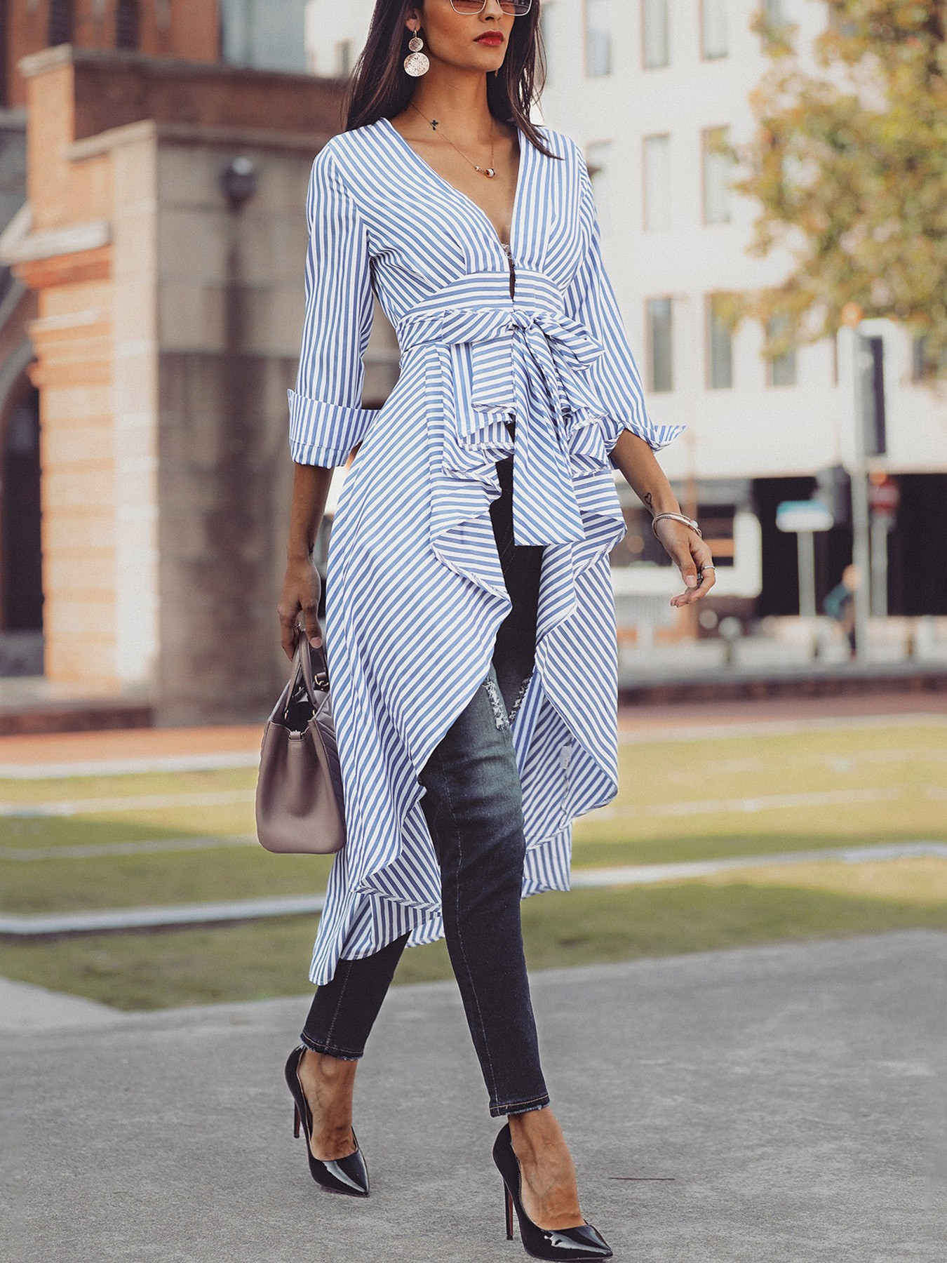 boutiquefeel / Striped Tied Front Dip Hem Shirt