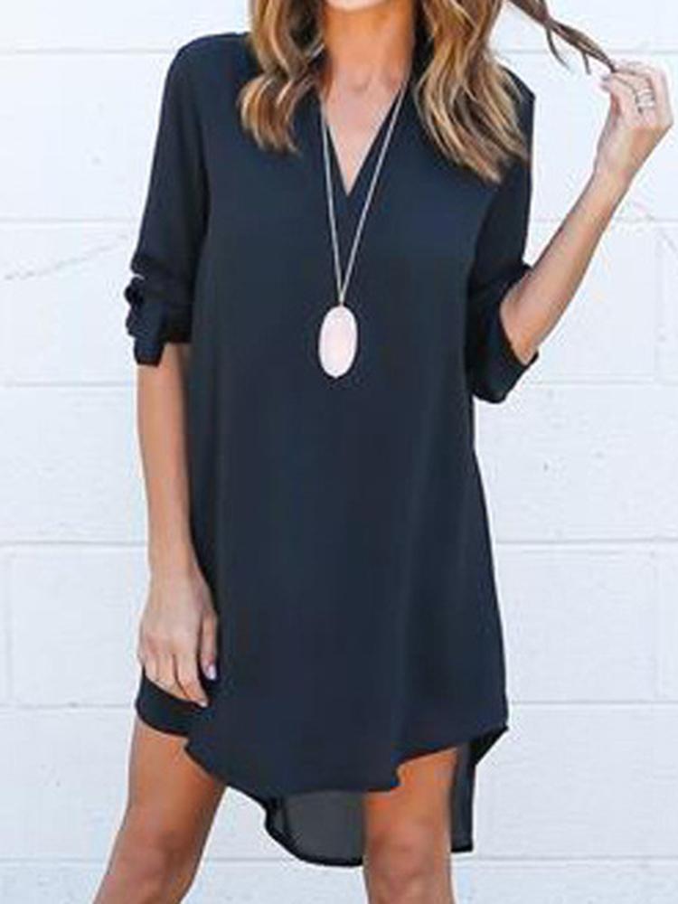 fashion autumn irregular hem casual dress online
