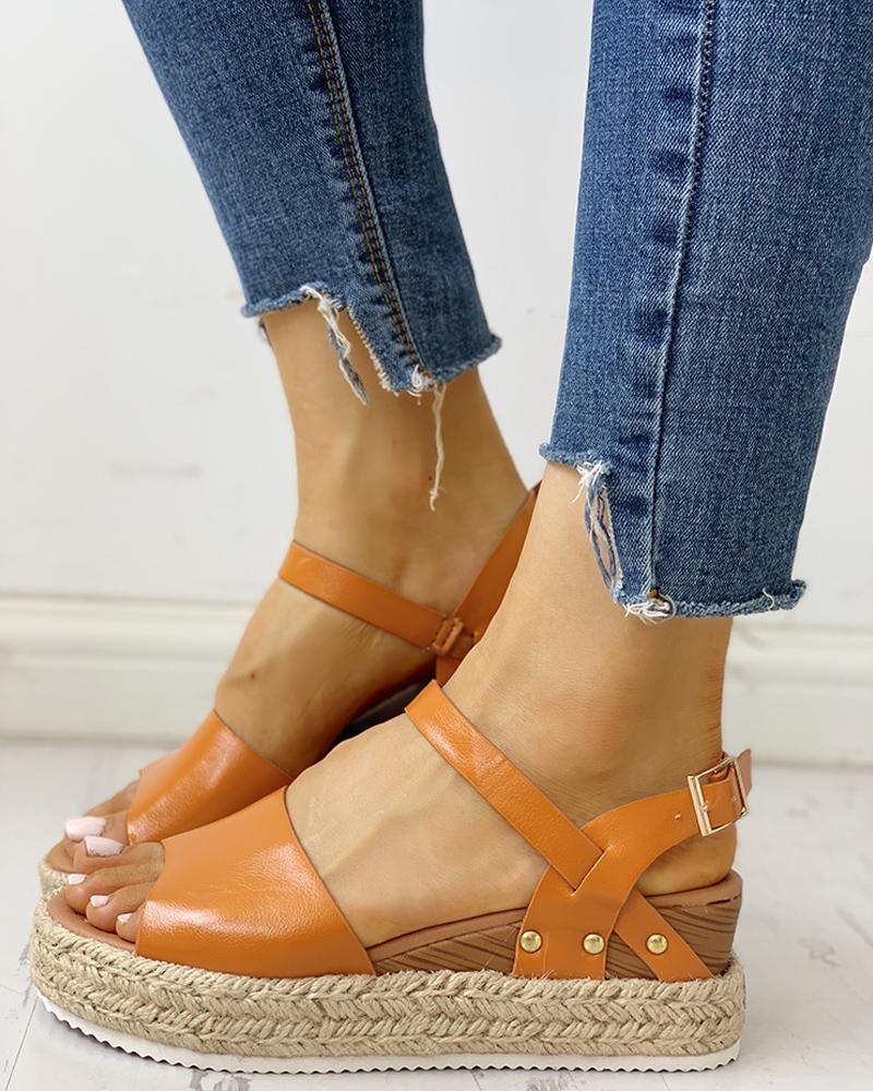 Peep Toe Braided Espadrille Wedge Sandals
