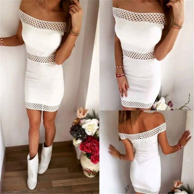 2016 Summer Word Shoulder Straight Openwork Lace Package Hip Waist Dress thumbnail