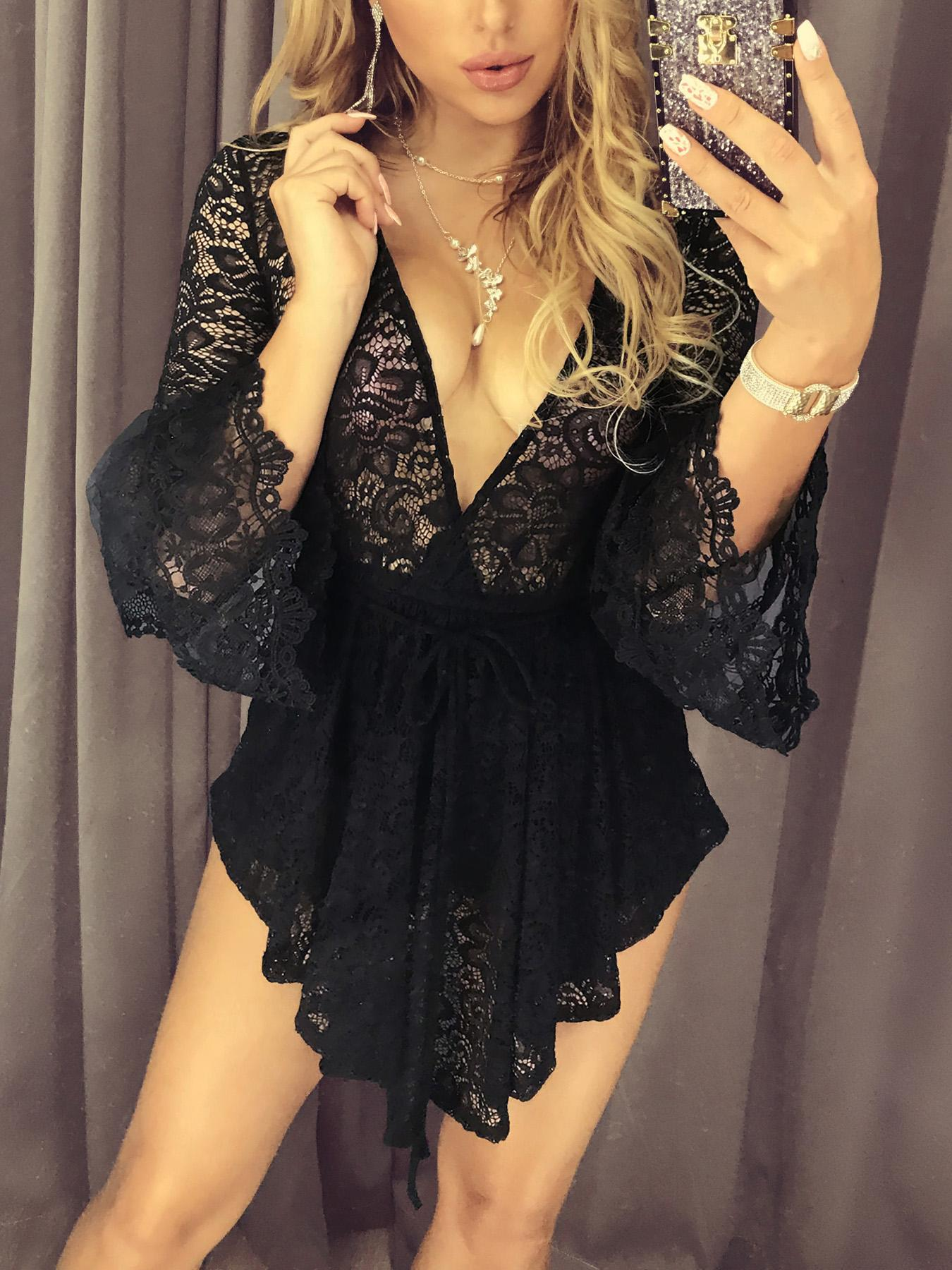 Sheer Lace Crochet Babydoll Romper Online. Discover hottest trend fashion  at chicme.com 3b38a187d