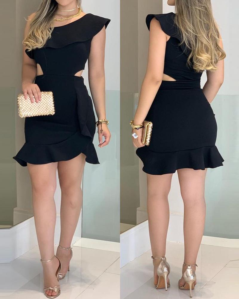 One Shoulder Cutout Ruffle Hem Bodycon Dress, Black