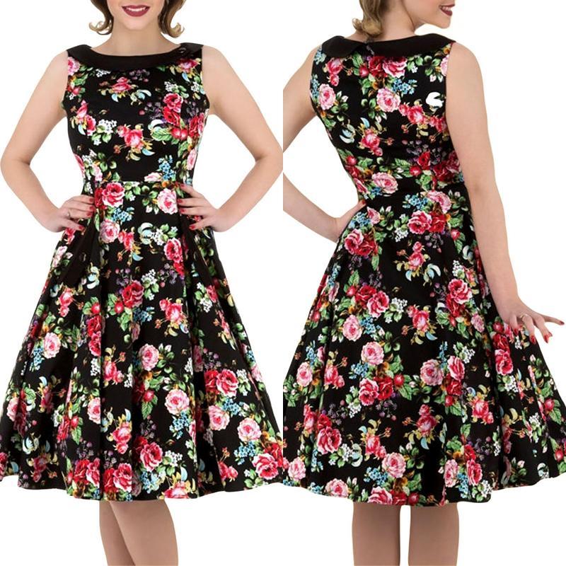 Fashion Women Floral Printed Sleeveless Crew Neck Swing Vintage Dress thumbnail