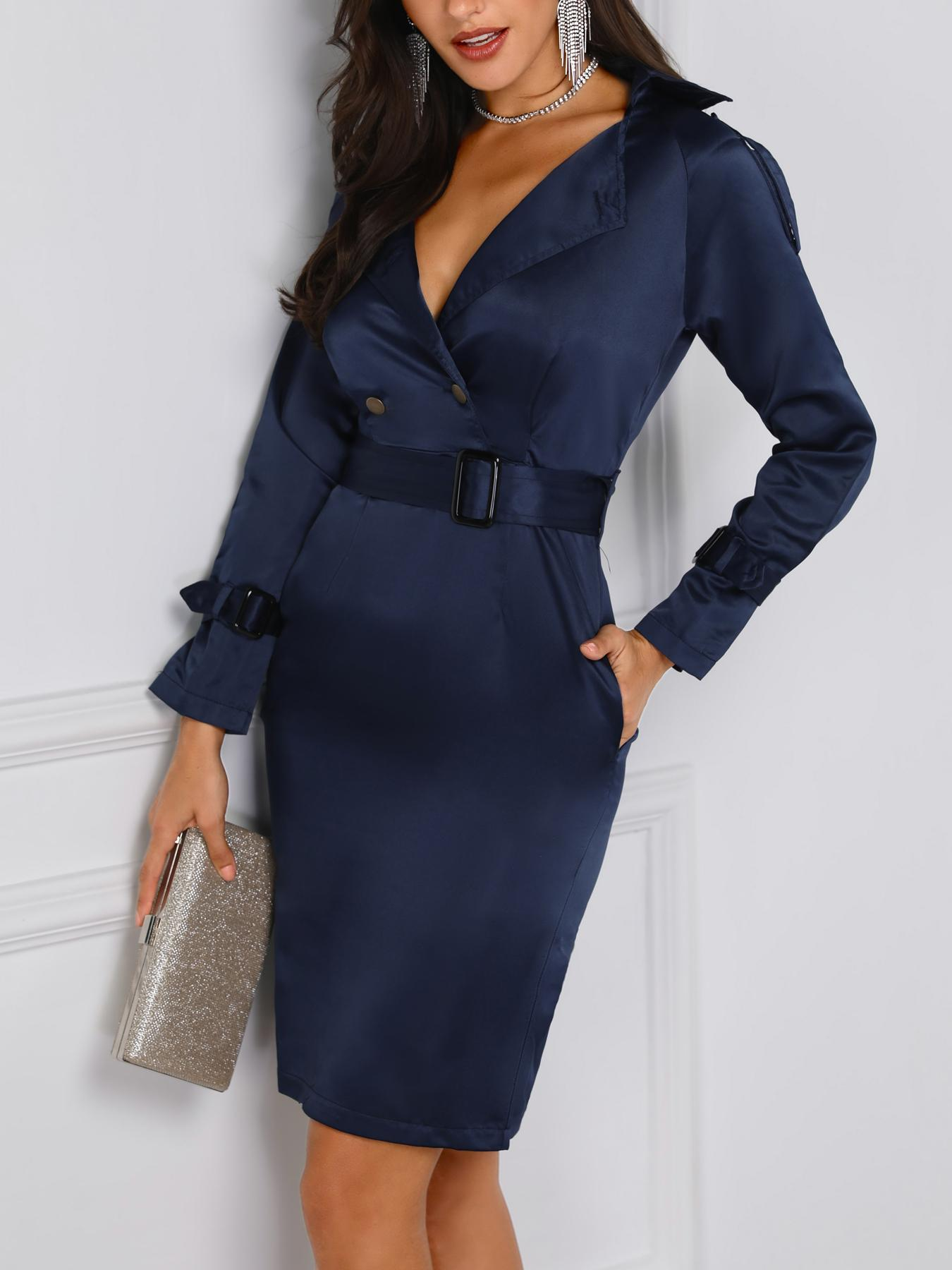 05da5e166a2 Doube Button Belted Blazer Dress Online. Discover hottest trend fashion at  chicme.com