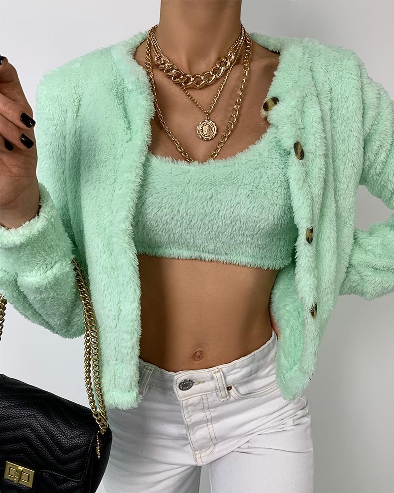 Warm Fluffy Long Sleeve Coats & Tank Top Sets thumbnail