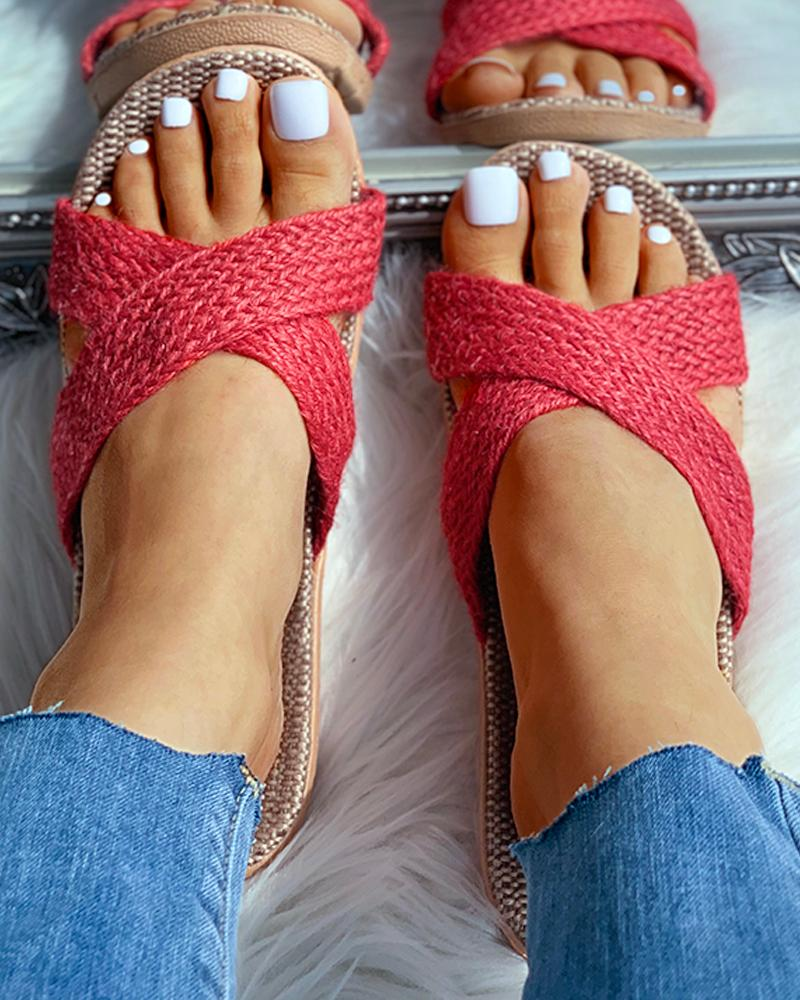 Woven Flax Cut Out Flat Sandals thumbnail