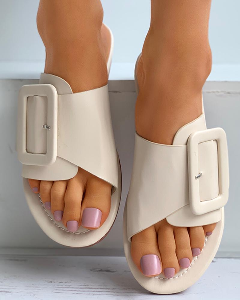 Buckled Open Toe Flat Sliders thumbnail