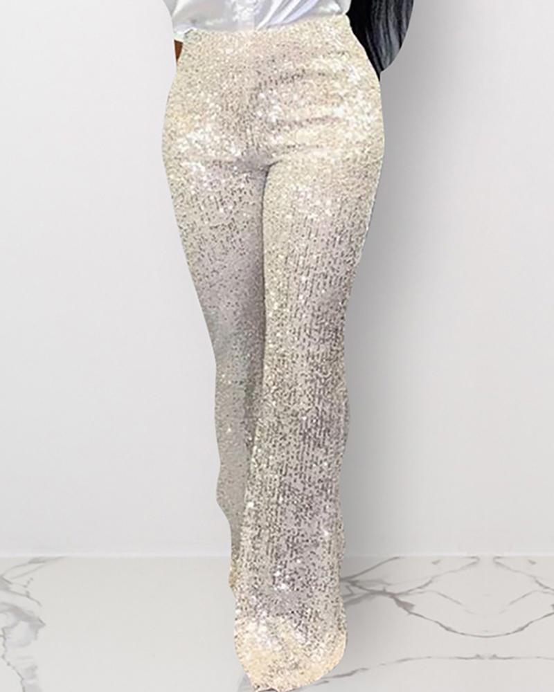 Sequins High Waist Wide pants