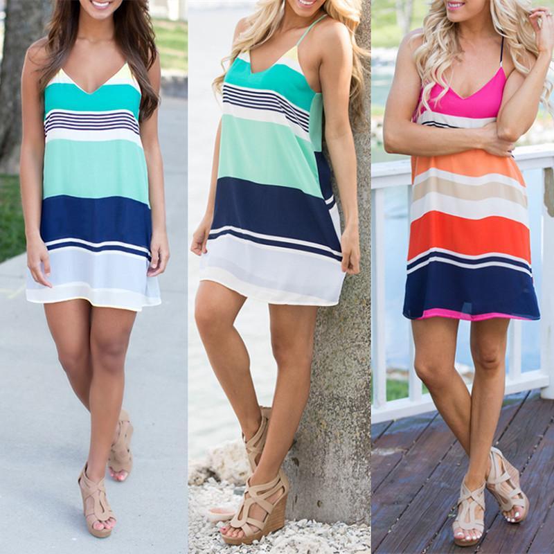 Fashion Women's Sling Dresses Stripe Print Casual Dress Sleeveless V Neck Beach Dress thumbnail