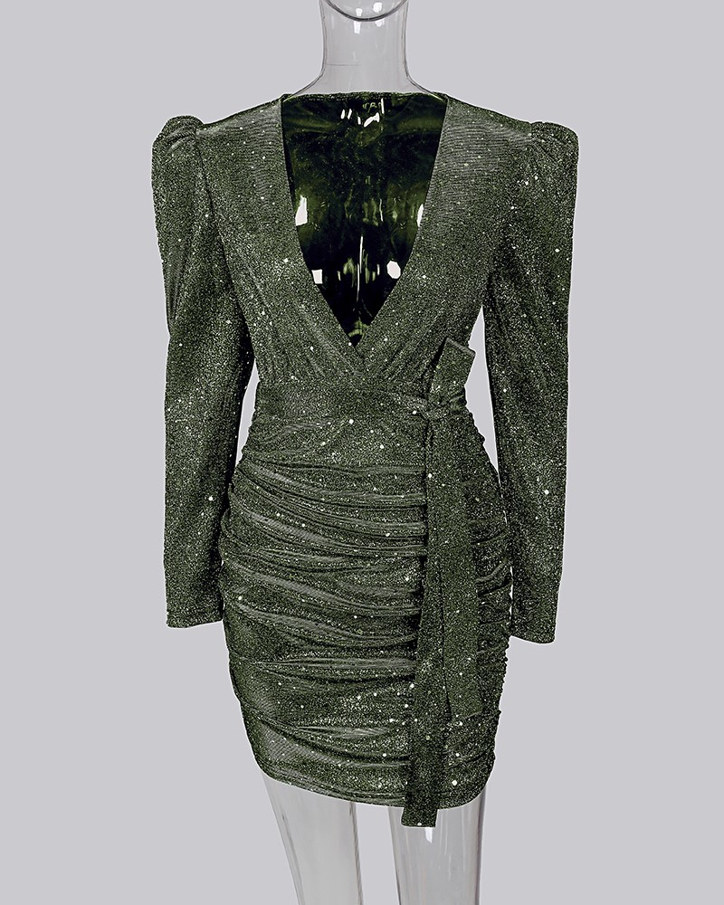 Glitter v neck puff sleeve ruched bodycon dress